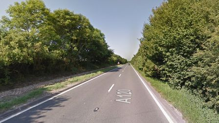 The diesel spill on the A120 has been cleared Picture: GOOGLE MAPS