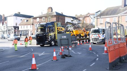 Major roadworks in Bury town centre by Suffolk Highways wil last six weeks. Picture: CHARLOTTE BOND