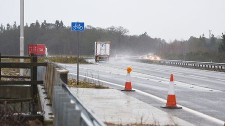 The scene of the fatal crash on the A14 eastbound at Rougham Picture: GREGG BROWN