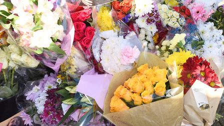 Floral tributes to William Smedley, who died in the collision on the A14 near Rougham Picture: ARCH