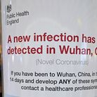 A Public Health England poster about coronavirus - so far nine people in the UK have developed the c