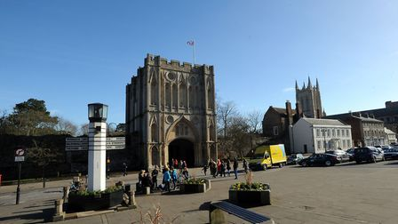 The Abbeygate and Pillar of Salt on Angel Hill in Bury. Picture: PHIL MORLEY