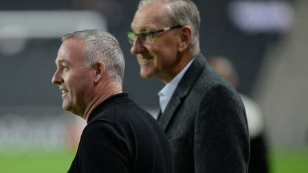 Ipswich Town legend Terry Butcher with manager Paul Lambert at MK Dons earlier this season. Photo: P