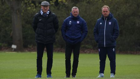 Terry Butcher, Paul Lambert and Bryan Klug watched Ipswich Town U23s. Picture: ROSS HALLS