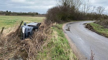 The car ended up in a ditch after the crash in Rishangles, between Debenham and Eye. Picture: SUFFOL