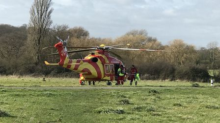 The air ambulance has landed nearby Picture: GILES WATLING