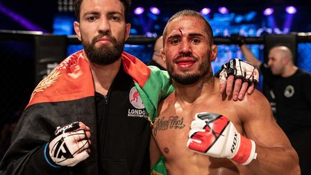Javid Basharat, left, and Nicholas Savio after their title fight at Contenders 29 was stopped on cut