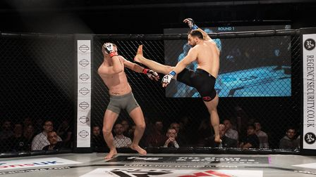 Felix Klinkhammer launches a trademark flying attack at Contenders 29. Picture: BRETT KING