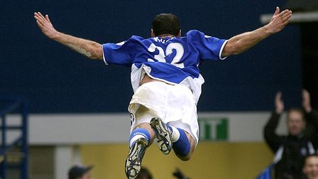 Shefki Kuqi celebrates after scoring for Ipswich Town in his own unique way. Photo: Colin Shaw