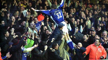 Hermann Hreidarsson dives into the North Stand crowd after believing he had scored for Ipswich Town