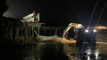 Work to make the pier safe went ahead into the evening on February 14, securing the area ahead of St