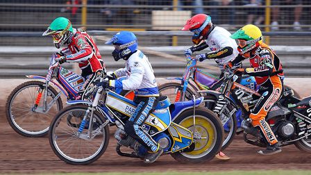 Jason Crump (green) Robert Miksowiak (blue), Rory Schlein (red) & Tai Woofinden race at Foxhall back