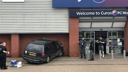 A car crashed into the front of PC World in Bury St Edmunds Picture: ARCHANT