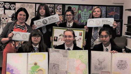 Staff and students at Castle Manor School in Haverhill which has won an Artsmark Silver award from t