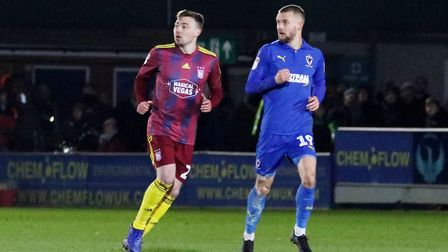 Freddie Sears and Shane McLoughlin pictured during Town's 0-0 draw at AFC Wimbledon Photo: ROSS HALL
