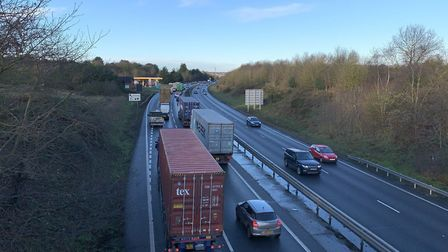The abnormal load will be escorted down the A14 this morning. Picture: SARAH LUCY BROWN