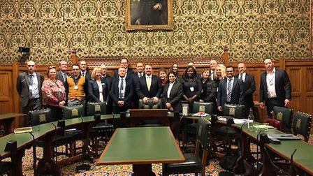 Bolaji Sofoluwe with MPs Dr Liam Fox and home secretary Priti Patel at the House of Commons Picture