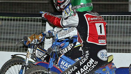 Did you see that: Jason Crump of Belle Vue has words with Ipswich's Hans Andersen after a race at Fo