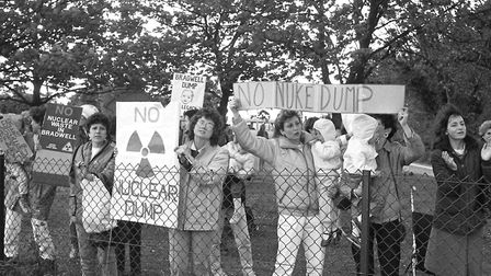 Protesters at Bradwell Power Station in May 1986 Picture: ARCHANT ARCHIVES