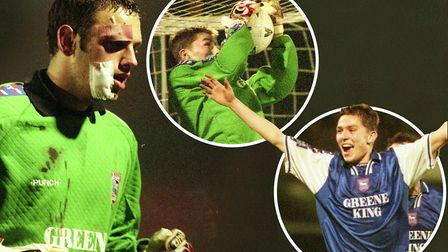 Richard Wright left the field in Town's clash with Oxford in 1998, meaning Matt Holland went in goal