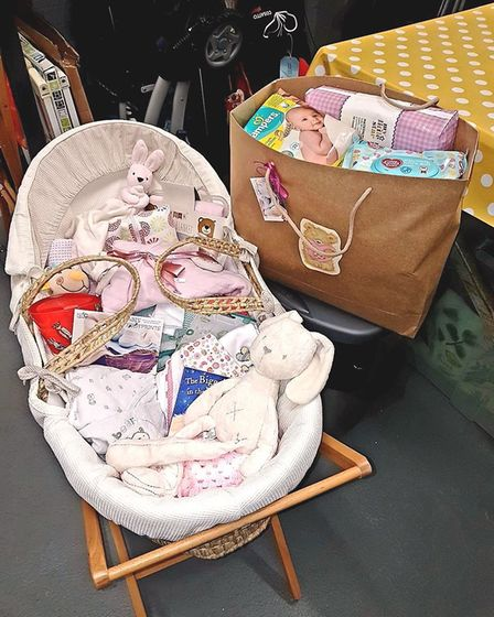 A Moses Basket starter pack for a parent of a new-born who has approached the group for help. Pictur