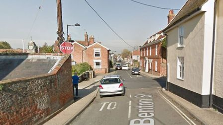Benton Street in Hadleigh is blocked after a collision involving two Ford cars. Picture: GOOGLE MAPS