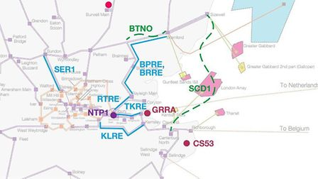 Map shosing infrastructure projects, including the Suffolk to Kent connection Picture: NATIONAL GRID