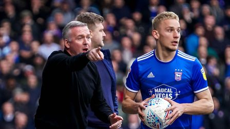 Town manager Paul Lambert directing play ahead of a Luke Woolfenden throw-in. Picture Steve Waller