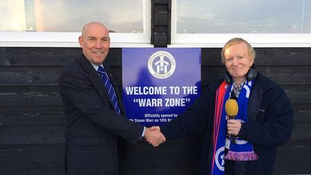 Simon Warr, right, with Leiston chairman Andy Crisp outside the press box at Victory Road, which was