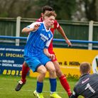 Robert Harvey's attempt on goal is saved by Barwell keeper Max Bramley, but he did end up scoring th