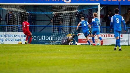 New signing Robert Harvey equalises on his Leiston debut against Barwell. Picture: HANNAH PARNELL