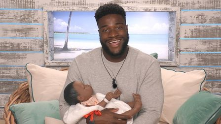 Ched in a challenge where contestants had to look after toy babies. Picture: (C) ITV Plc