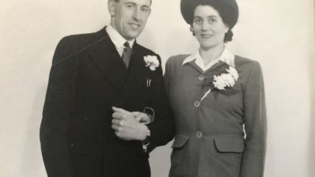 Seventy years ago, Robert and Laura Worne on their wedding day on February 23, 1950. Picture: WORNE