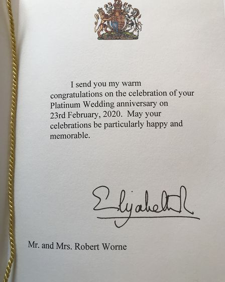 Robert Worne, 94 and Laura Worne, 97 from Rushmere St. Andrew, received a special card from the Que