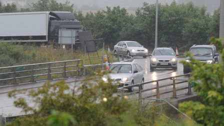 The A12 by the Copdock Interchange was reopened at 4am today. Picture: ALEX FAIRFULL