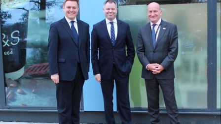 L/R: MP for Colchester Will Quince, Minister of State Edward Agar and Nick Hulme CEO of Ipswich and