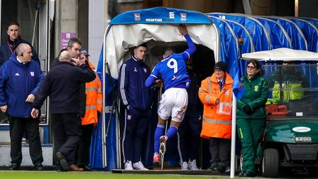 Kayden Jackson vents his frustration on the tunnel as he leaves the pitch following his red card.