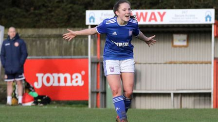 Amy-Leigh Abrehart celebrates one of her three goals as Town Women beat Stevenage 7-0 for the second