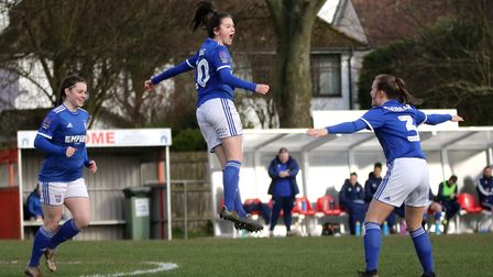 Eloise King celebrates as she opened the scoring as Town Women beat Stevenage 7-0 for the second tim