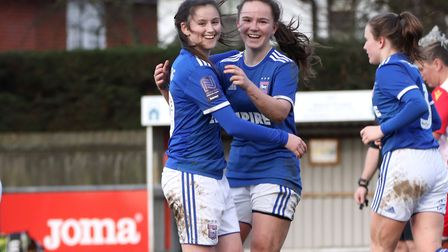 All smiles from goalscorers Eloise King and Amy-Leigh Abrehart as Town Women beat Stevenage 7-0 for