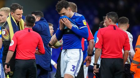 Josh Earl pictured after the final whistle on Saturday. Picture Steve Waller www.stephenwaller.co