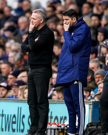 Town manager Paul Lambert and his assistant Stuart Taylor look for options, late in the game. Pictu