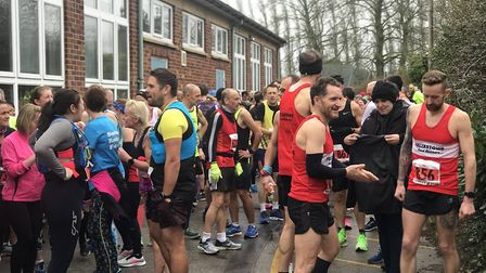 Runners mingle before the start of the Tarpley 20, at Beyton, including eventual runer-up and Suffol