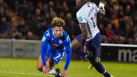 Courtney Senior, being fouled by Tottenham's Victor Wanyama, was an unused substitute at Salford, sh
