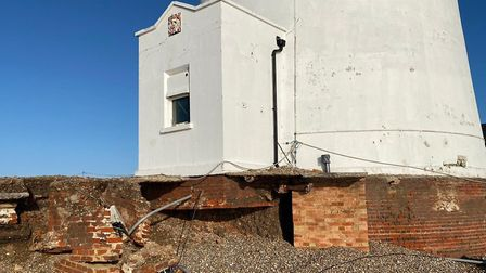 The foundations of Orfordness Lighthouse have exposed due to erosion Picture: STEVE TAYLOR