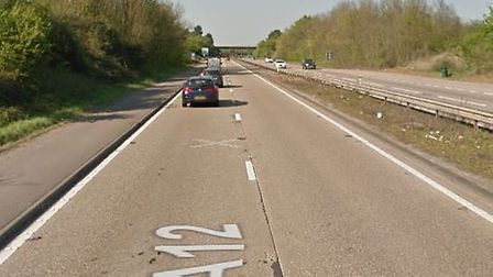 A lane of the A12 is currently closed following an accident Picture: GOOGLE MAPS