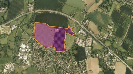 Land eyed for 300 homes in Woolpit. Picture: MID SUFFOLK DISTRICT COUNCIL/GOOGLE MAPS