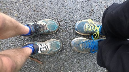 Two pairs of trainers, and four different coloured laces, for columnist Carl Marston and his nephew