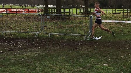 Lewis Sullivan, on his way to victory at the English National Championships at Wollaton Park in Nott