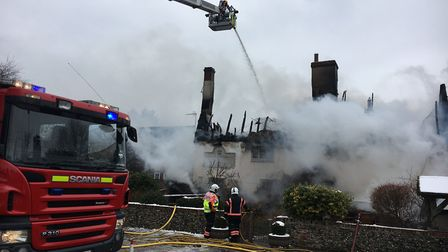 Fire crews tackling the blaze at The Blackbirds Inn at Woodditton, in 2018 Picture: CAMBRIDGESHIRE